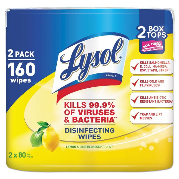 LYSOL Brand Disinfecting Wipes, Lemon/Lime Blossom, 7 x 8, 80/Canister, 2/Pack, 3 PK/CT
