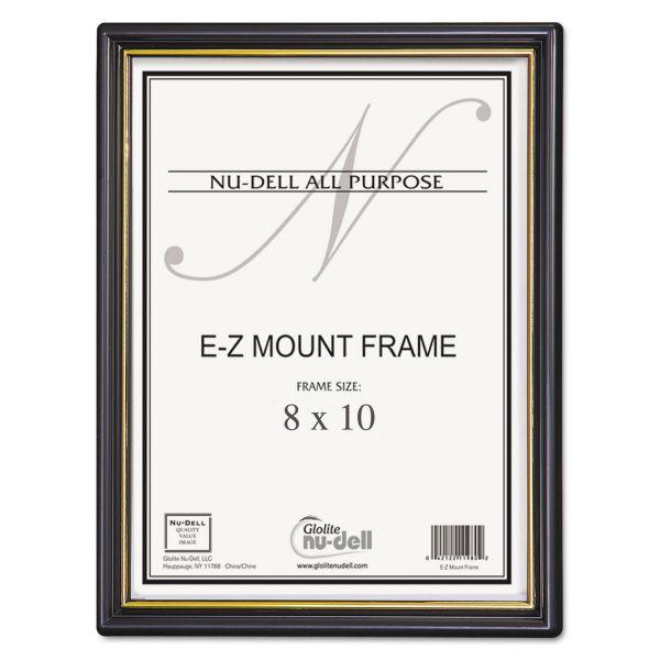 NuDell EZ Mount Document Frame/Accent, Plastic, 8 x 10, Black/Gold