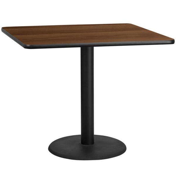 Flash Furniture 42'' Square Walnut Laminate Table Top with 24'' Round Table Height Base