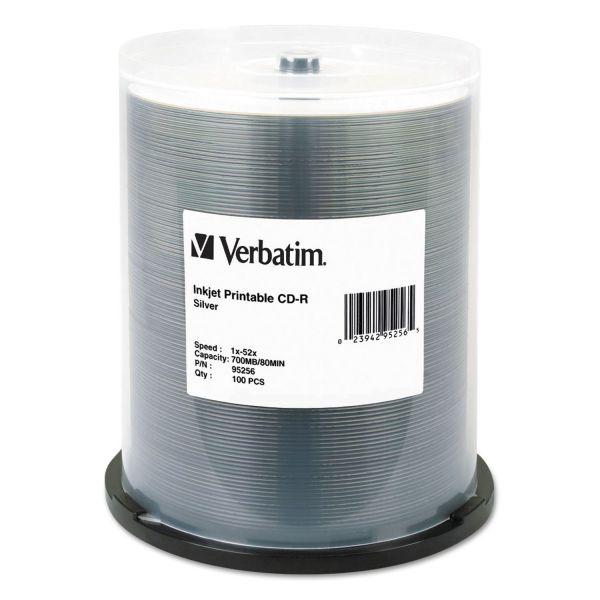 Verbatim CD-R, 700MB, 52X, Silver Inkjet Printable, 100/PK Spindle