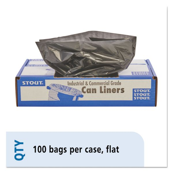 Stout by Envision 100% Recycled Plastic Trash Bags, 33gal, 1.3mil, 33 x 40, Brown/Black, 100/CT