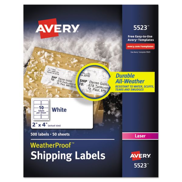 "Avery WeatherProof 2"" x 4"" Shipping Labels"
