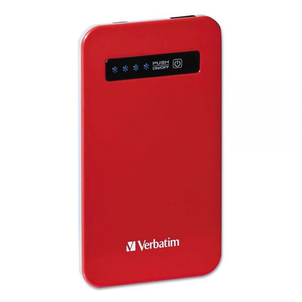 Verbatim Ultra Slim Power Pack Chargers, 4200 mAh Battery Capacity, Red