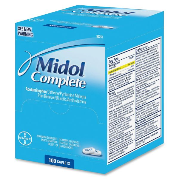 Midol Complete Menstrual Caplets, Two-Pack, 50 Packs/Box