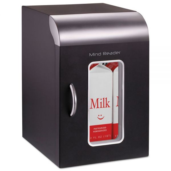 Mind Reader Cube Mini Coffee Station Refrigerator, 0.21 Cu. Ft, Black w/Chrome Handle