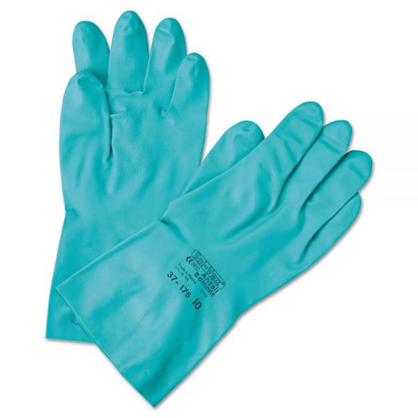AnsellPro Sol-Vex Sandpatch-Grip Nitrile Gloves, Green, Size 7