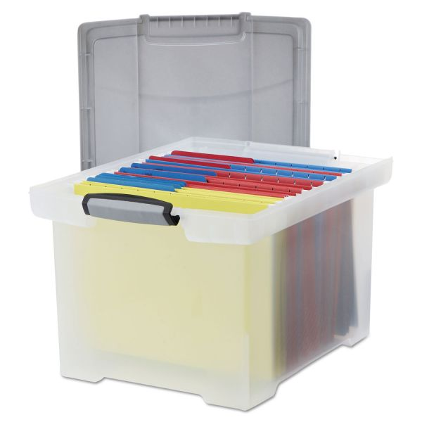 Storex Portable File Tote w/Locking Handle