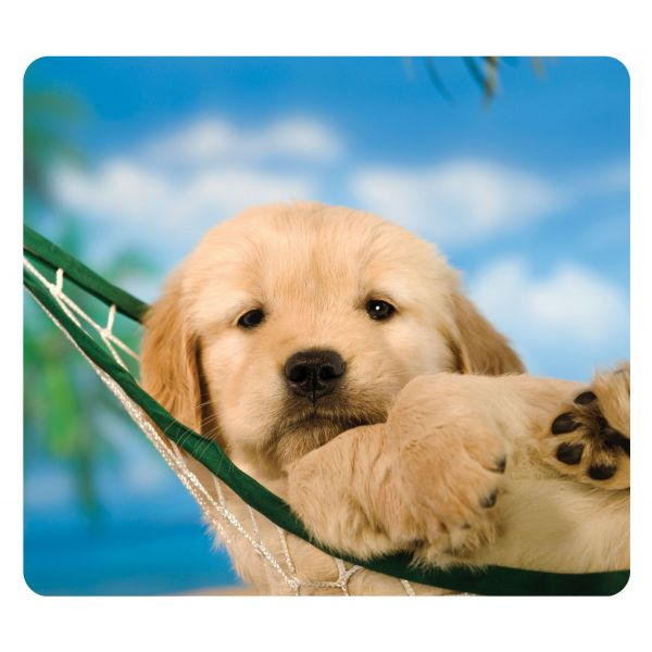 Fellowes Recycled Mouse Pad, Nonskid Base, 7 1/2 x 9, Puppy in Hammock