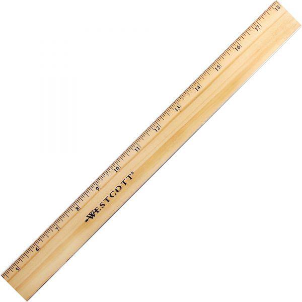 Westcott Beveled Metal Edge Wood Rulers