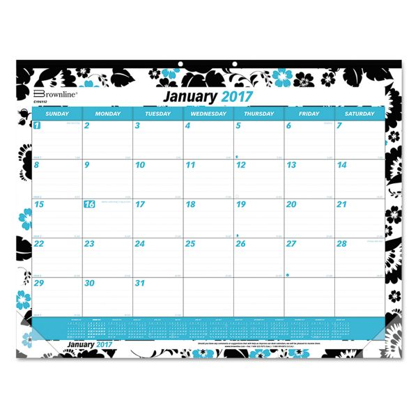 Blueline Monthly Fashion Desk Pad With Blossoms, 22 x 17, 2014