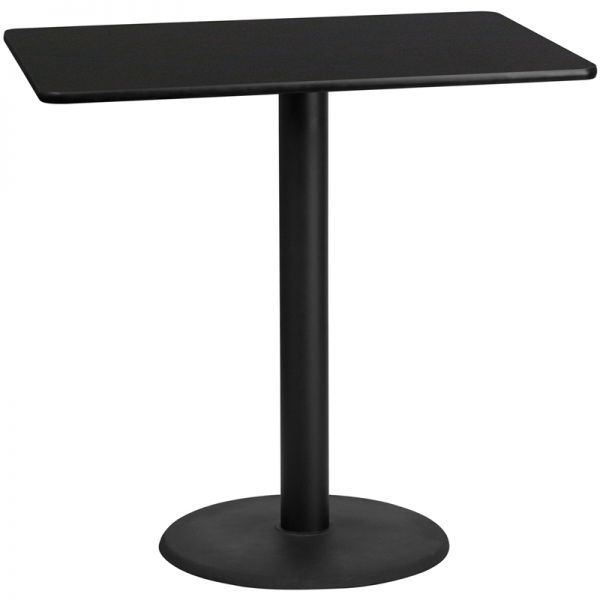 Flash Furniture 30'' x 48'' Rectangular Black Laminate Table Top with 24'' Round Bar Height Table Base