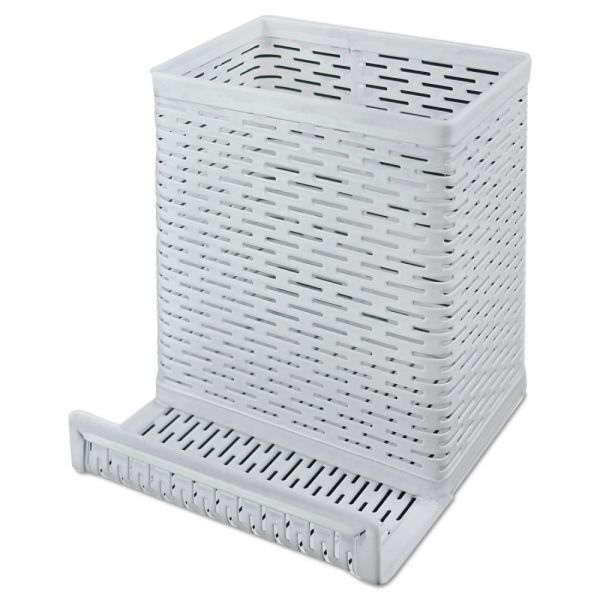 Artistic Urban Collection Punched Metal Pencil Cup/Cell Phone Stand, 3 1/2 x 3 1/2, White