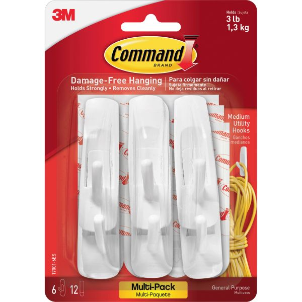 Command General Purpose Hooks Multi-Pack, Medium, 3lb Cap, White, 6 Hooks & 12 Strips/PK