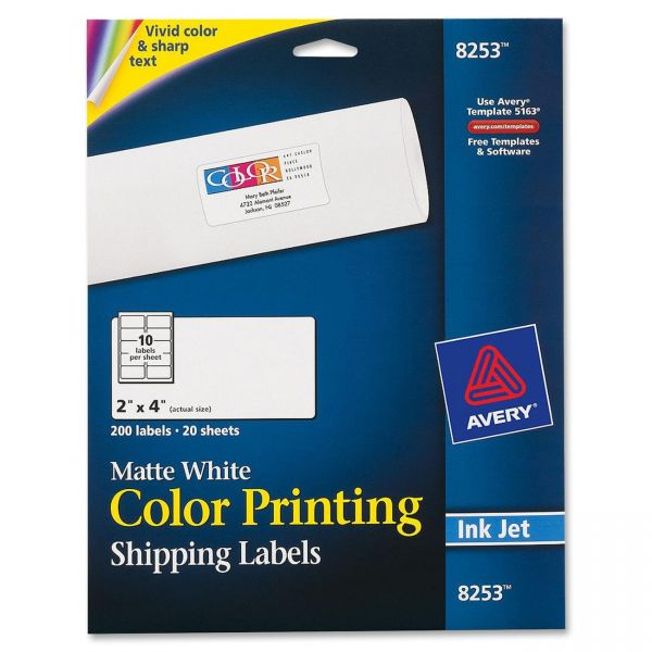 """Avery 8253 Color Printing 2"""" x 4"""" Shipping Labels"""