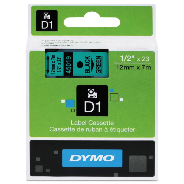 """DYMO D1 High-Performance Polyester Removable Label Tape, 1/2"""" x 23 ft, Black on Green"""