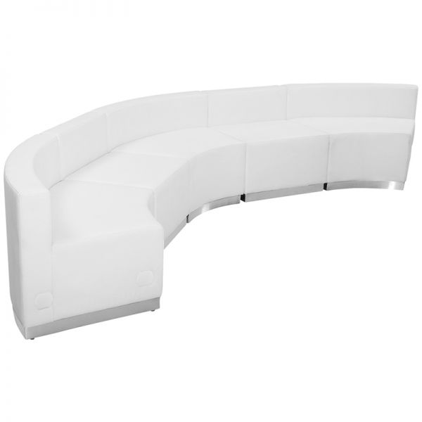 Flash Furniture HERCULES Alon Series White Leather Reception Configuration, 5 Pieces