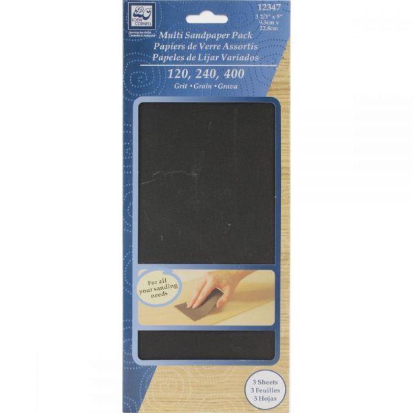 """Multipack Sandpaper 3.66""""X9"""" 3/Pkg"""