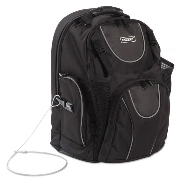 "Vaultz Locking Backpack, 16"", 15 x 7 x 19, Black"