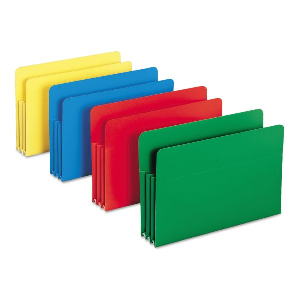 Smead Exp File Pockets, Straight Tab, Poly, Legal, Assorted, 4/Box