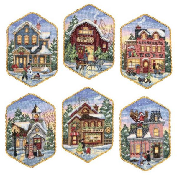 Gold Collection Christmas Village Ornaments Counted Cross Stitch Kit