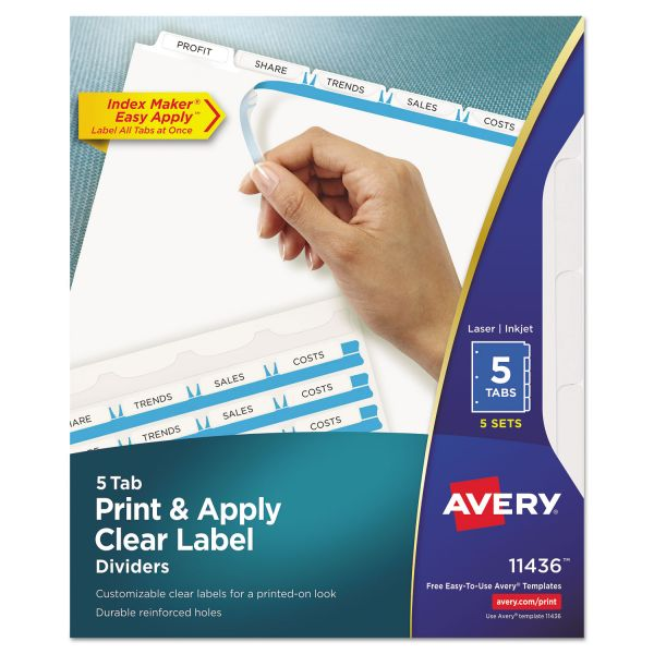 Avery Print & Apply Clear Label Dividers, 5-Tab, White Tab, Letter, 5 Sets