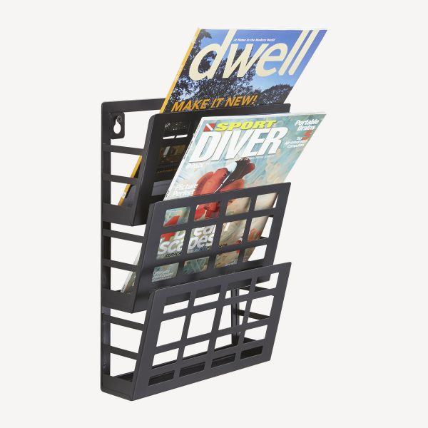 Safco Grid Magazine Rack, Three Compartments, 9-1/2w x 5-1/2d x 13-1/2h, Black