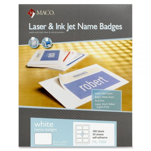 MACO White Laser/Ink Jet Name Tag Labels