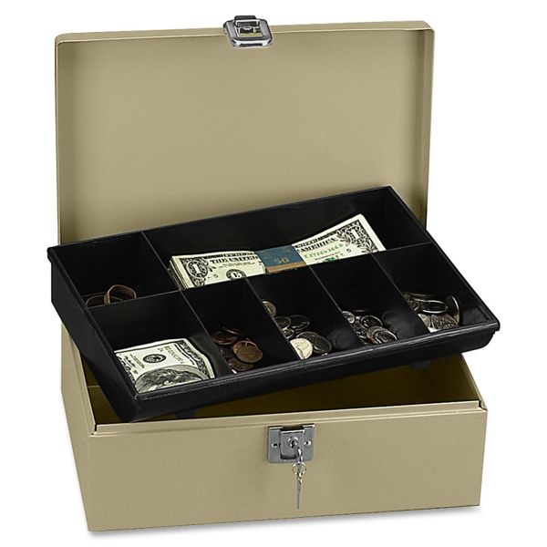 PM Company SecurIT Lock'n Latch Steel Cash Box w/7 Compartments, Key Lock, Pebble Beige