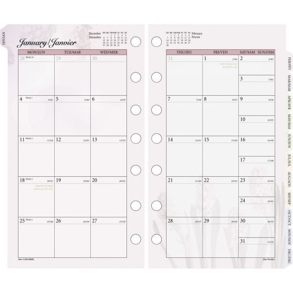Day Runner Nature Design Monthly Planner Refill