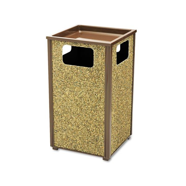 Rubbermaid Commercial Aspen Series Sand Urn/Litter Receptacle, Square, Steel, 24 gal, Brown