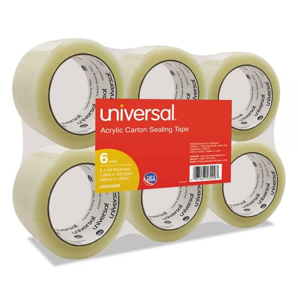 "Universal General-Purpose Acrylic Box Sealing Tape, 48mm x 100m, 3"" Core, Clear, 6/Pack"