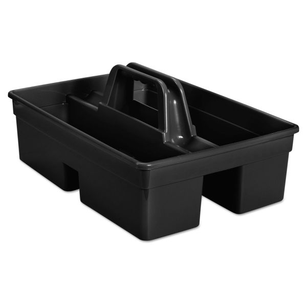 "Rubbermaid Commercial Executive Carry Caddy, 2-Compartment, Plastic, 10 3/4""W x 6 1/2""H, Black"