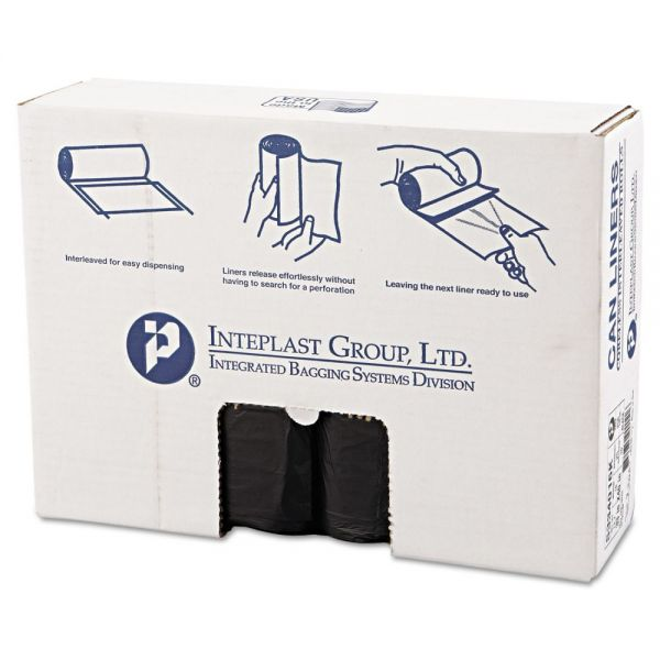 Inteplast Group High-Density Can Liner, 33 x 40, 33gal, 16mic, Black, 25/Roll, 10 Rolls/Carton