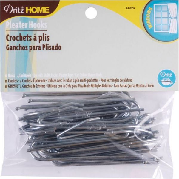 Ceiling Pleater Hooks 10/Pkg (4 Ends)