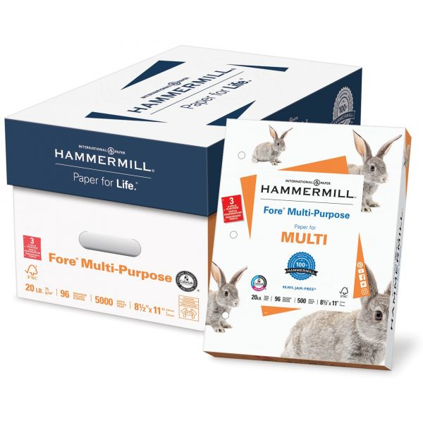 Hammermill Fore MP Three-Hole Punched White Copy Paper