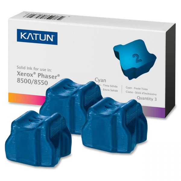 Katun KAT37983 Phaser 8500 Compatible, 108R00669 Solid Ink, 3000 Yld, 3/Box, Cyan