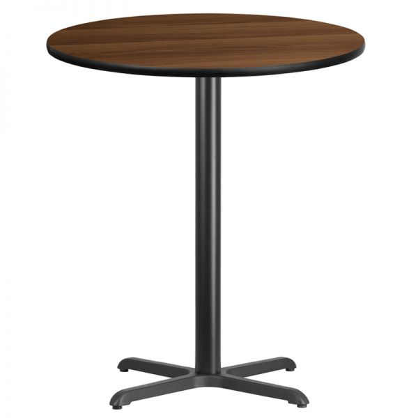 Flash Furniture 36'' Round Walnut Laminate Table Top with 30'' x 30'' Bar Height Table Base