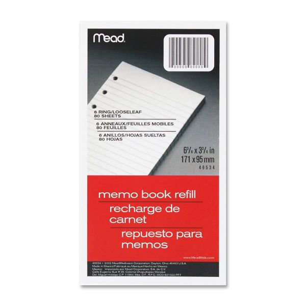 Mead Memo Book Refill Pages