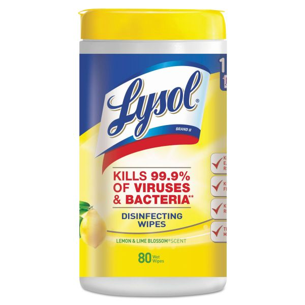 LYSOL Brand Disinfecting Wipes, Lemon and Lime Blossom, White, 7 x 8, 80/Can, 6 Cans/CT
