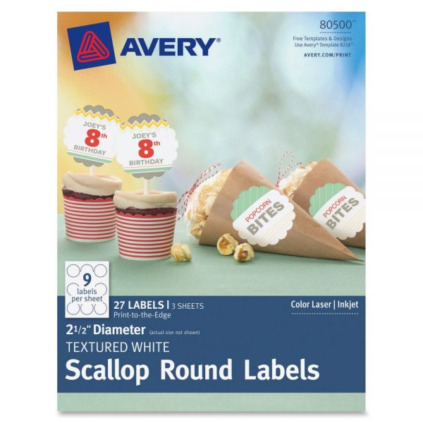 Avery Textured Scallop Round Labels