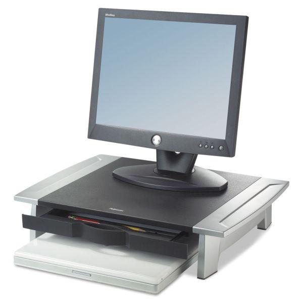 Fellowes Standard Monitor Riser, 19 7/8 x 14 1/16 x 6 1/2, Black/Silver