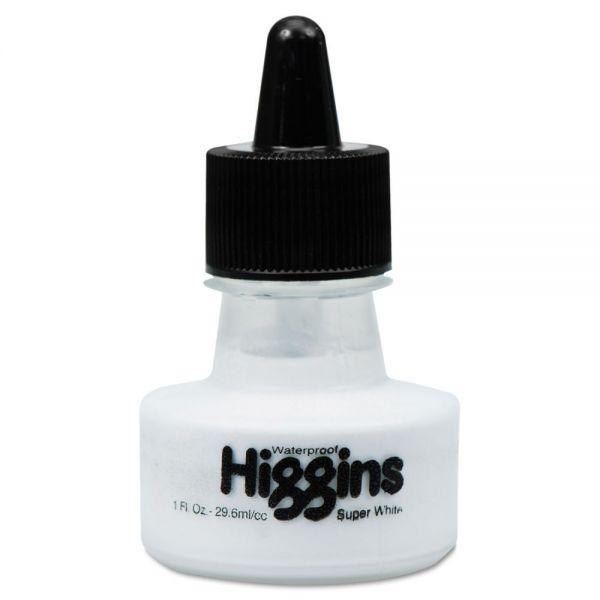 Higgins Waterproof Pigmented Drawing Ink, White, 1oz Bottle