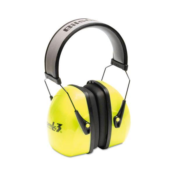 Howard Leight by Honeywell L3HV Hi-Visibility Earmuffs, Reflective Headband, 30NRR, Green/Black