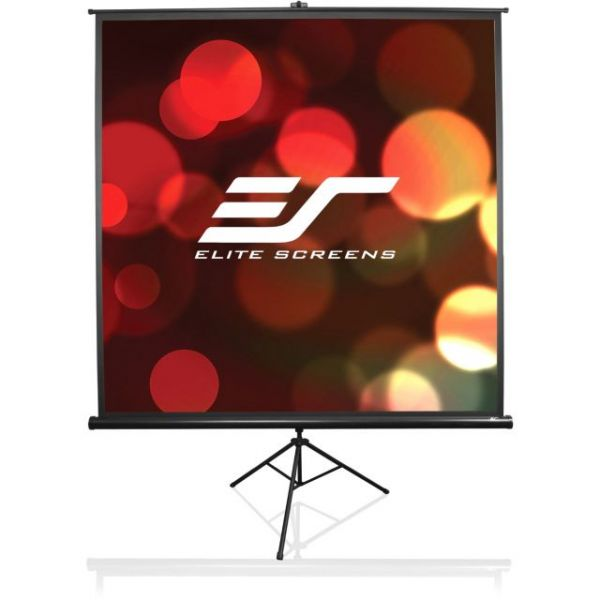 "Elite Screens T120UWH Tripod Portable Tripod Manual Pull Up Projection Screen (120"" 16:9 Aspect Ratio) (MaxWhite)"