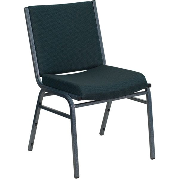 Flash Furniture HERCULES Series Heavy Duty, 3'' Thickly Padded, Green Patterned Upholstered Stack Chair with Ganging Bracket