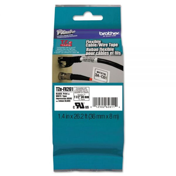 "Brother P-Touch Flexible Tape Cartridge for P-Touch Labelers, 1-1/2"" x 26-1/5 ft, Black on White"