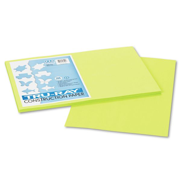 Pacon Tru-Ray Construction Paper, 76 lbs., 12 x 18, Brilliant Lime, 50 Sheets/Pack