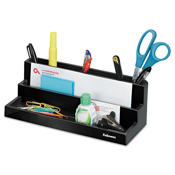 Fellowes Designer Suites Desktop Organizer, 11 1/8 x 5 x 3 7/8, Black Pearl