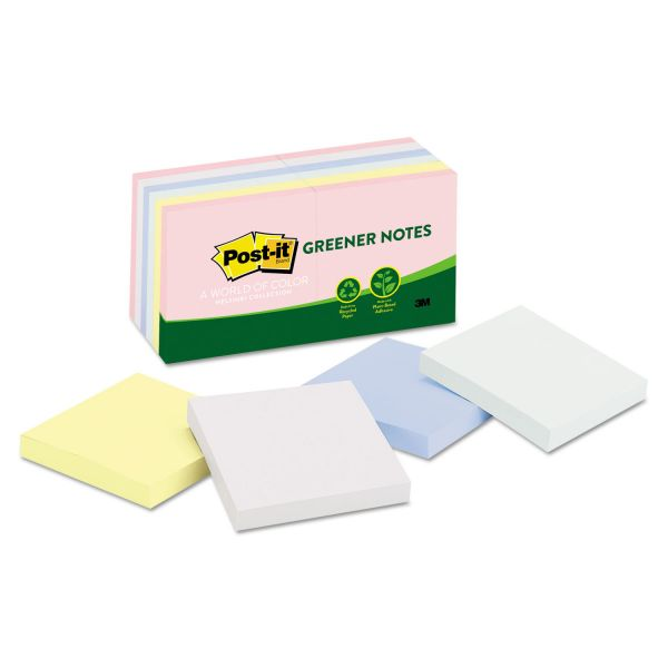 Post-it Greener Notes Recycled Note Pads, 3 x 3, Assorted Helsinki Colors, 100-Sheet, 12/Pack