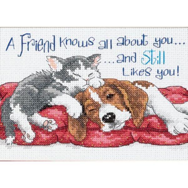 Jiffy A Friend Knows Mini Counted Cross Stitch Kit